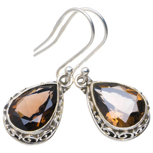 "Natural Smoky Quartz Handmade Unique 925 Sterling Silver Earrings 1.5"" A2213"