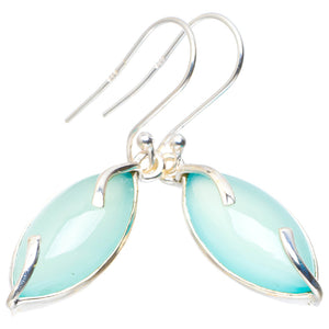 "Natural Chalcedony Handmade Unique 925 Sterling Silver Earrings 1.5"" A2230"