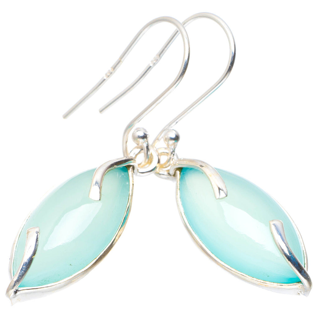 Natural Chalcedony Handmade Unique 925 Sterling Silver Earrings 1.5
