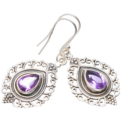 Natural Amethyst Handmade Unique 925 Sterling Silver Earrings 1.75