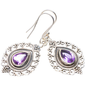 "Natural Amethyst Handmade Unique 925 Sterling Silver Earrings 1.75"" A2233"