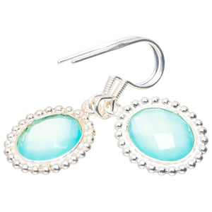 "Natural Chalcedony Handmade Unique 925 Sterling Silver Earrings 1.25"" A2255"