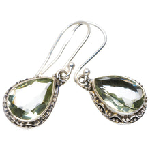 "Natural Green Amethyst Handmade Unique 925 Sterling Silver Earrings 1.25"" A2287"