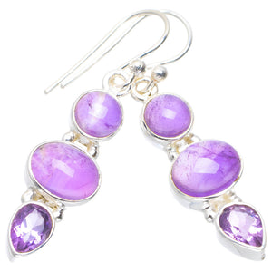 "Natural Amethyst Handmade Unique 925 Sterling Silver Earrings 1.5"" A2317"