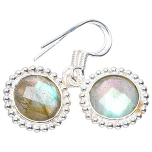 "Natural Blue Fire Labradorite Handmade Unique 925 Sterling Silver Earrings 1.25"" A2318"