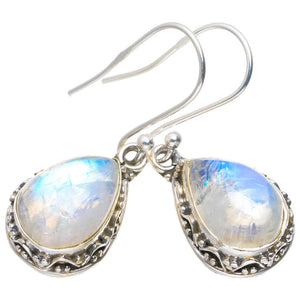 "Natural Rainbow Moonstone Handmade Unique 925 Sterling Silver Earrings 1.25"" A2325"