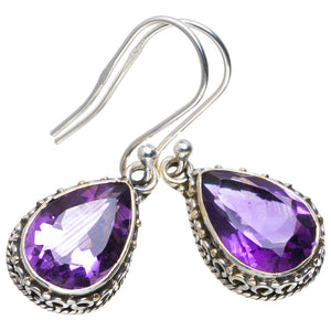 "Natural Amethyst Handmade Unique 925 Sterling Silver Earrings 1.25"" A2362"