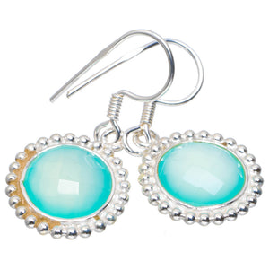 "Natural Chalcedony Handmade Unique 925 Sterling Silver Earrings 1.25"" A2363"