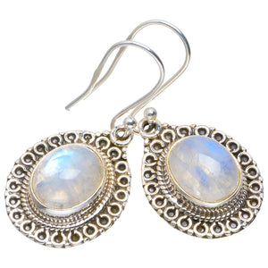 "Natural Rainbow Moonstone Handmade Unique 925 Sterling Silver Earrings 1.25"" A2364"