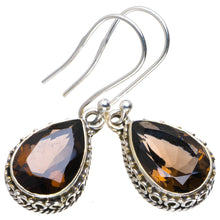 "Natural Smoky Quartz Handmade Unique 925 Sterling Silver Earrings 1.25"" A2373"