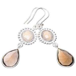 "Natural Smoky Quartz and White Chalcedony Handmade Unique 925 Sterling Silver Earrings 2"" A2406"