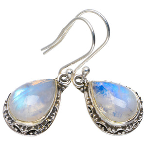 "Natural Rainbow Moonstone Handmade Unique 925 Sterling Silver Earrings 1.25"" A2419"