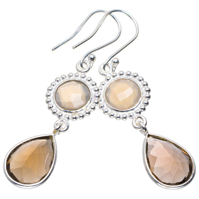 Natural Smoky Quartz and White Chalcedony Handmade Unique 925 Sterling Silver Earrings 2