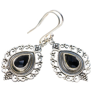 "Natural Black Onyx Handmade Unique 925 Sterling Silver Earrings 1.75"" A2579"