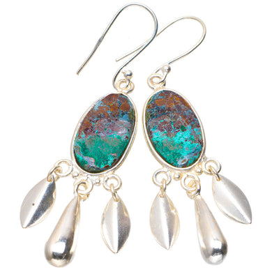 Natural Chrysocolla Handmade Unique 925 Sterling Silver Earrings 2.25
