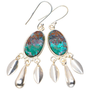 "Natural Chrysocolla Handmade Unique 925 Sterling Silver Earrings 2.25"" A2626"