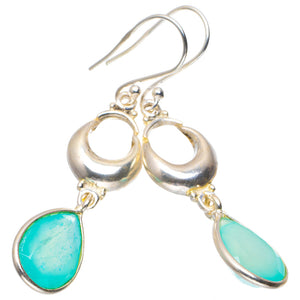 "Natural Chalcedony Handmade Unique 925 Sterling Silver Earrings 2"" A2684"