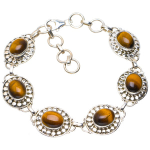 "Natural Tiger Eye Handmade Unique 925 Sterling Silver Bracelet  6.75-8.25"" A2793"