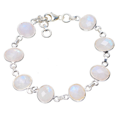 Natural Rainbow Moonstone Handmade Unique 925 Sterling Silver Bracelet  7-7.75