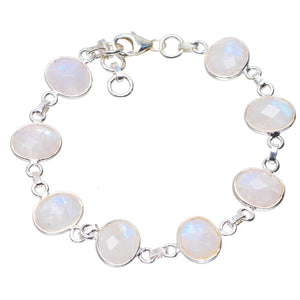 "Natural Rainbow Moonstone Handmade Unique 925 Sterling Silver Bracelet  7-7.75"" A2795"