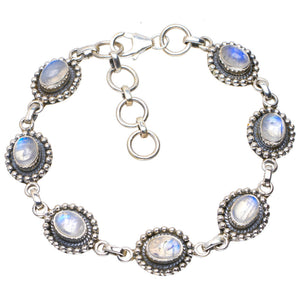 "Natural Rainbow Moonstone Handmade Unique 925 Sterling Silver Bracelet 6.75-8"" A2815"