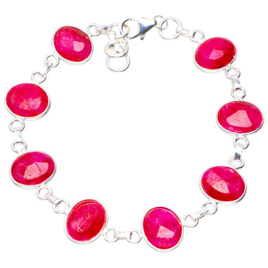 Natural Cherry Ruby Handmade Unique 925 Sterling Silver Bracelet 6.5-7
