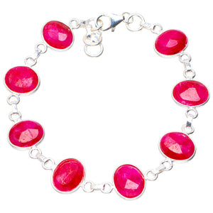 "Natural Cherry Ruby Handmade Unique 925 Sterling Silver Bracelet 6.5-7"" A2824"