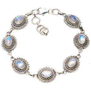 "Natural Rainbow Moonstone Handmade Unique 925 Sterling Silver Bracelet 7.25-8.25"" A2825"