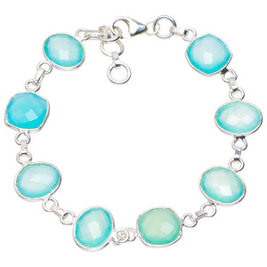 "Natural Chalcedony Handmade Unique 925 Sterling Silver Bracelet 7-8"" A2829"