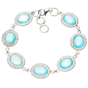 "Natural Chalcedony Handmade Unique 925 Sterling Silver Bracelet 6.75-7.5"" A2831"