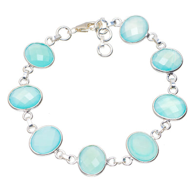 Natural Chalcedony Handmade Unique 925 Sterling Silver Bracelet 7.5-8