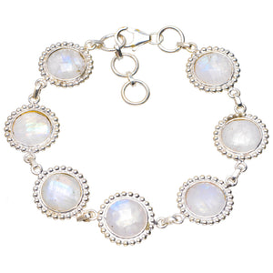 "Natural Rainbow Moonstone Handmade Unique 925 Sterling Silver Bracelet 6.75-7.5"" A2840"