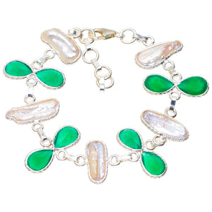 "Natural Biwa Pearl and Chrysoprase Handmade Unique 925 Sterling Silver Bracelet 6.25-7.25"" A2844"