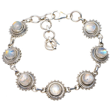 Natural Rainbow Moonstone Handmade Unique 925 Sterling Silver Bracelet 6.25-8