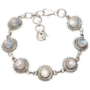 "Natural Rainbow Moonstone Handmade Unique 925 Sterling Silver Bracelet 6.25-8"" A2849"