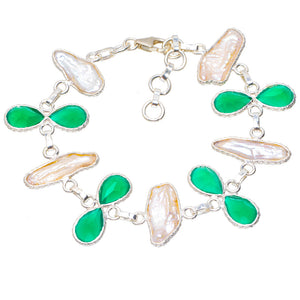 "Natural Biwa Pearl and Chrysoprase Handmade Unique 925 Sterling Silver Bracelet 7-8"" A2851"