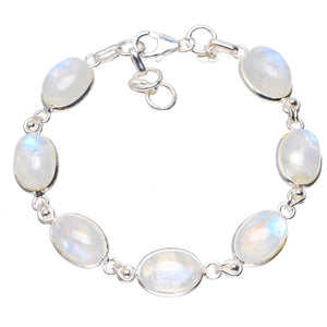 "Natural Rainbow Moonstone Handmade Unique 925 Sterling Silver Bracelet 6.5-7.5"" A2867"
