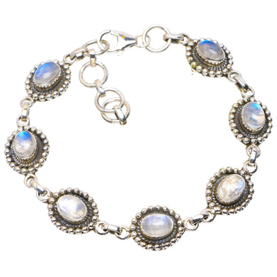 Natural Rainbow Moonstone Handmade Unique 925 Sterling Silver Bracelet 7.25-8
