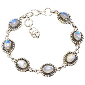 "Natural Rainbow Moonstone Handmade Unique 925 Sterling Silver Bracelet 7.25-8"" A2926"