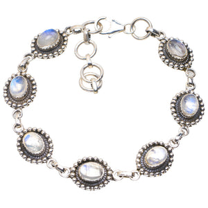"Natural Rainbow Moonstone Handmade Unique 925 Sterling Silver Bracelet 6.75-8"" A2944"