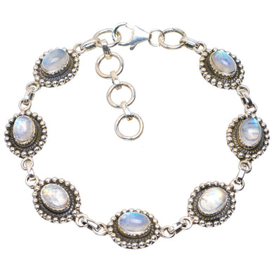 Natural Rainbow Moonstone Handmade Unique 925 Sterling Silver Bracelet 6.75-8
