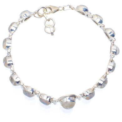 Natural Rainbow Moonstone Handmade Unique 925 Sterling Silver Bracelet 7.25-8.25