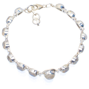"Natural Rainbow Moonstone Handmade Unique 925 Sterling Silver Bracelet 7.25-8.25"" A3011"