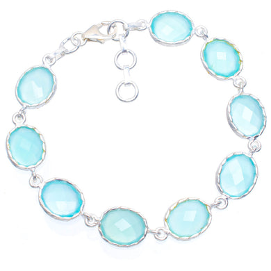 Natural Chalcedony Handmade Unique 925 Sterling Silver Bracelet 7.25-8.25