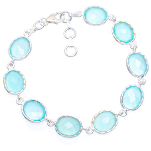 "Natural Chalcedony Handmade Unique 925 Sterling Silver Bracelet 7.25-8.25"" A3043"
