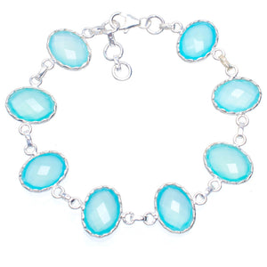 "Natural Chalcedony Handmade Unique 925 Sterling Silver Bracelet 7.75-8.5"" A3067"