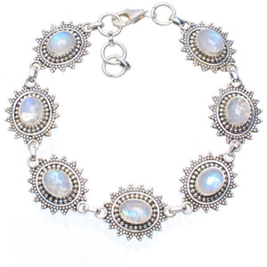 "Natural Rainbow Moonstone Handmade Unique 925 Sterling Silver Bracelet 7.25-8"" A3075"