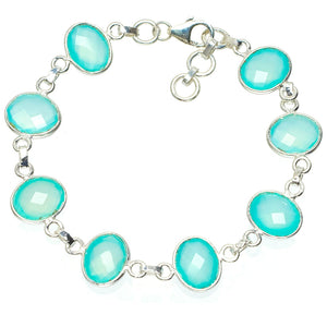 "Natural Chalcedony Handmade Unique 925 Sterling Silver Bracelet 7-7.75"" A3100"