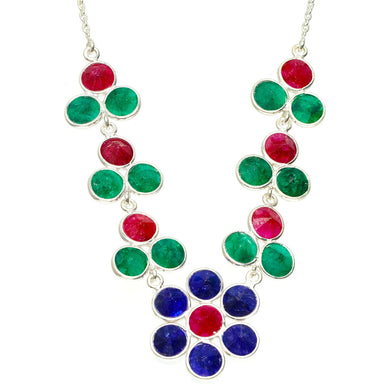 Natural Sapphire,Emerald and Cherry Ruby 925 Sterling Silver Necklace 17.5+1.25