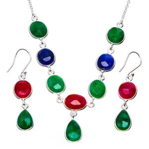 "Natural Emerald,Cherry Ruby and Sapphire 925 Silver Jewelry Set Necklace 18.75"" Earrings 2"" A3260"